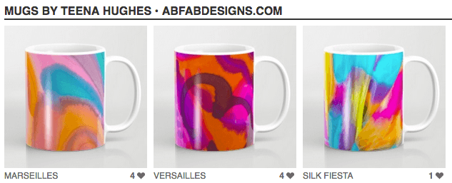My designs are now available as gorgeous mugs for tea and coffee!