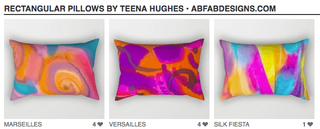 My designs are now available as gorgeous rectangular pillows!