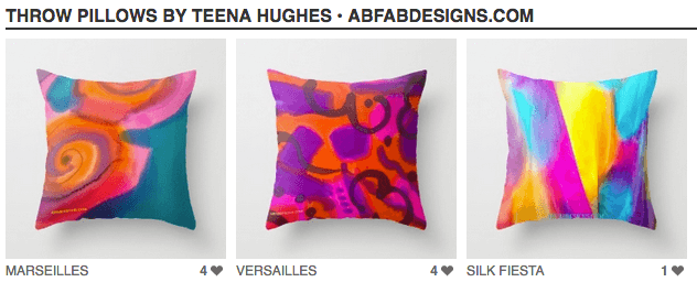 My designs are now available as gorgeous throw pillows!