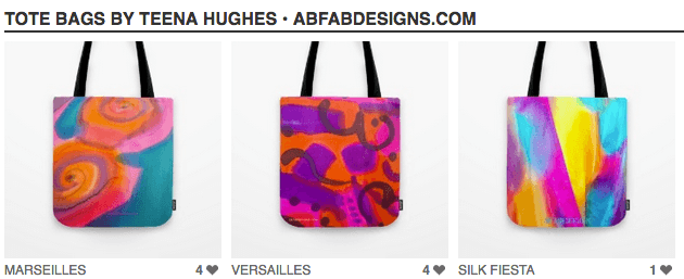 My designs are now available as gorgeous tote bags!