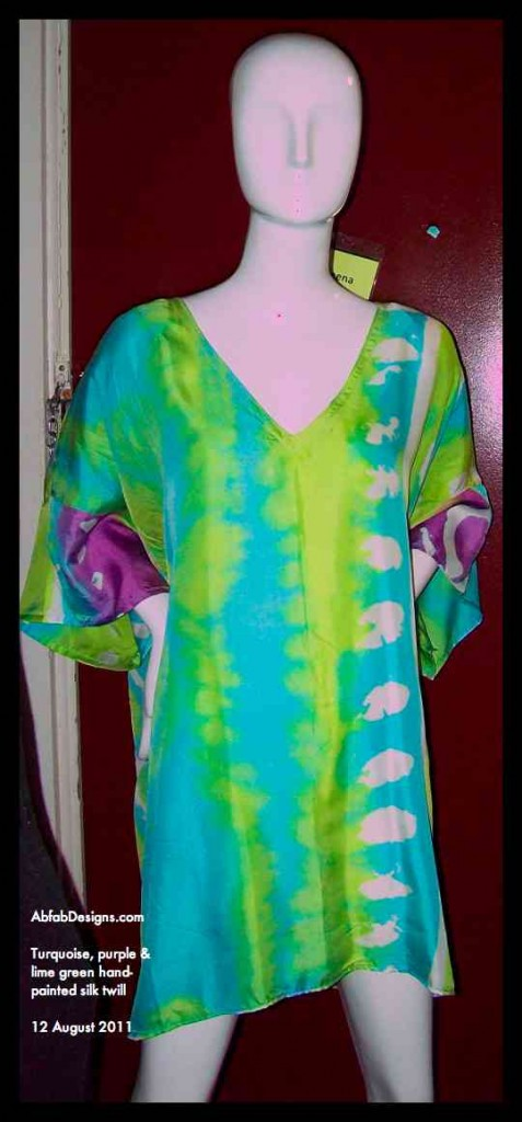 AbfabDesigns New Mannequin wearing handpainted silk by Teena Hughes