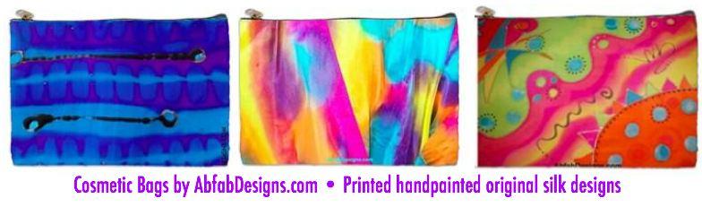 Cosmetic Bag, printed handpainted original silk designs