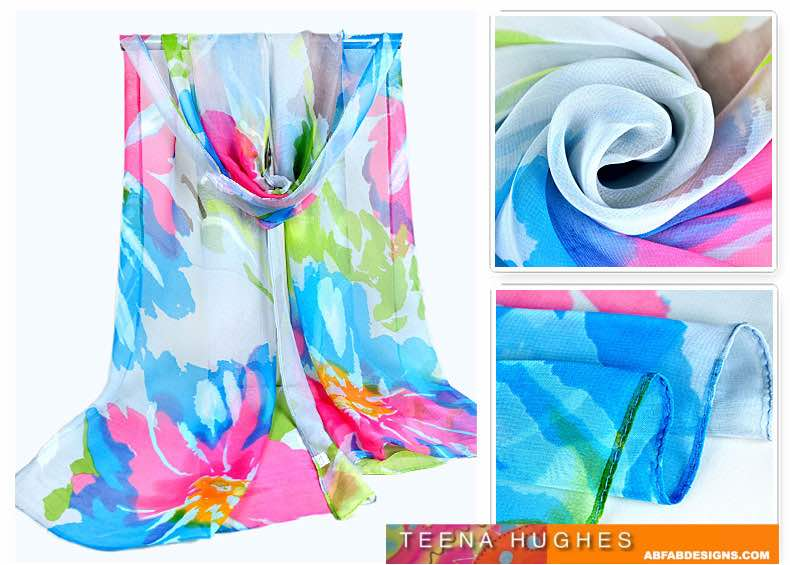 Long chiffon scarf in Soft Blue, Pink and Green