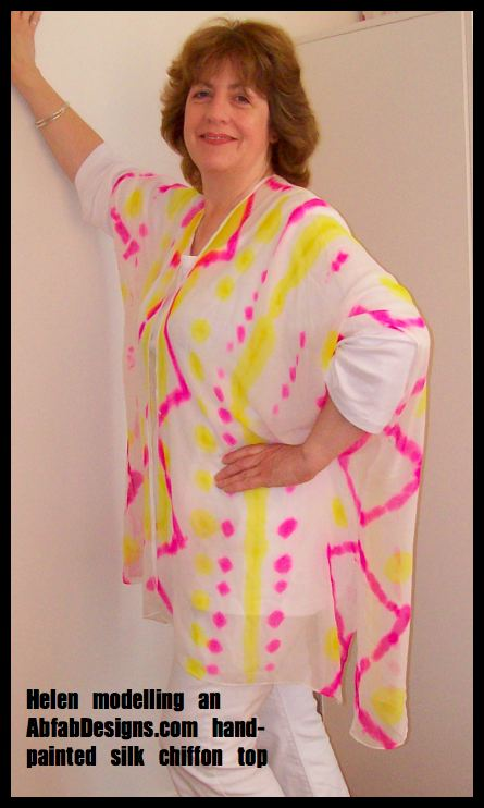 White silk coat with hot pink and yellow dots and zigzags by AbfabDesigns.com