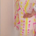 Hand-painted Silk Chiffon coat in White, Hot Pink and Yellow (front)