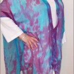 Hand-painted Silk Chiffon coat in Turquoise and Lilac (front)
