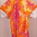 Hand-painted Silk Crepe coat in Hot Pink and Orange (back)