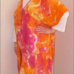 Hand-painted Silk Crepe coat in Hot Pink and Orange