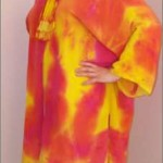 Hand-painted Sand-washed Silk coat in Hot Pink and Yellow