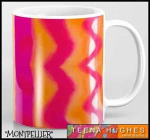 Mugs designed by Teena Hughes - the Montpellier silk design
