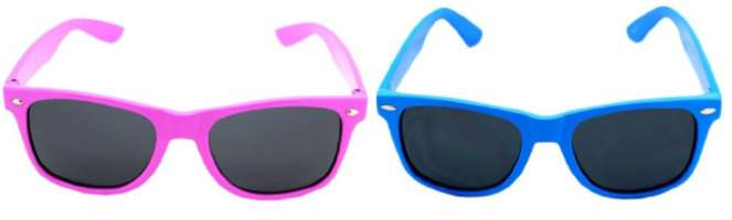 Neon Wayfarer sunglasses in hot pink and turquoise
