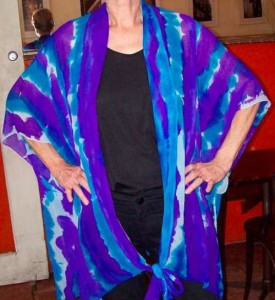 Haori Sleeveless Jacket Turquoise & Purple