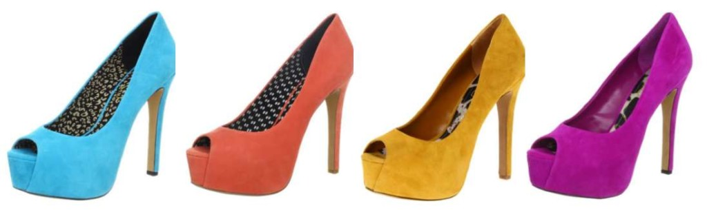 Shoes with high heels in turquoise, orange, yellow, hot pink, purple