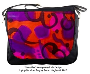 "Satchel Handpainted Silk ""Versailles"" design"